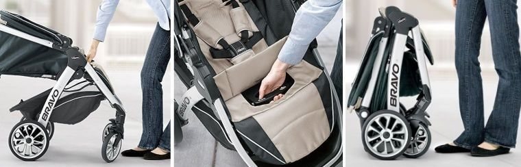 Chicco Bravo Trio Travel System - folding mechanism
