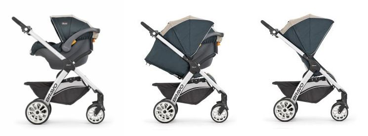 Chicco Bravo Trio Travel System seating options