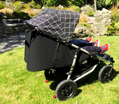 Mountain Buggy Duet features recline seats and all-terrain wheels