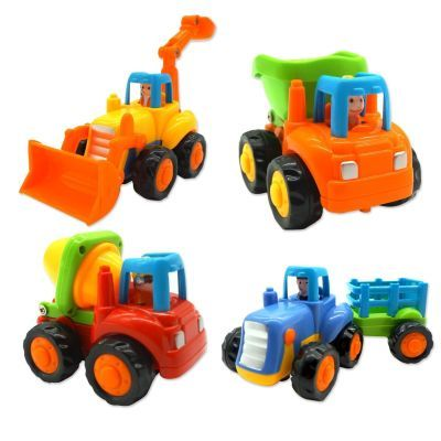 Friction Powered Cars, Push and Go Toy Trucks Construction Vehicles Toys Set for 1-3 Year Old Baby Toddlers