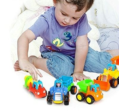 Friction Powered Cars, Push and Go Toy Trucks Construction Vehicles